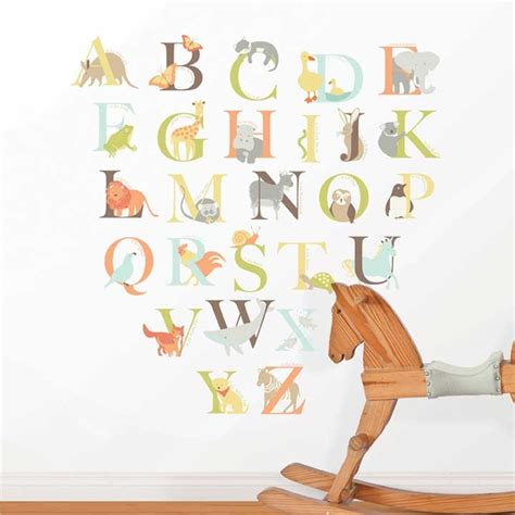 Alphabet Wall Decals For Nursery Wall Pops Alphabet Zoo Kit Wall Decals