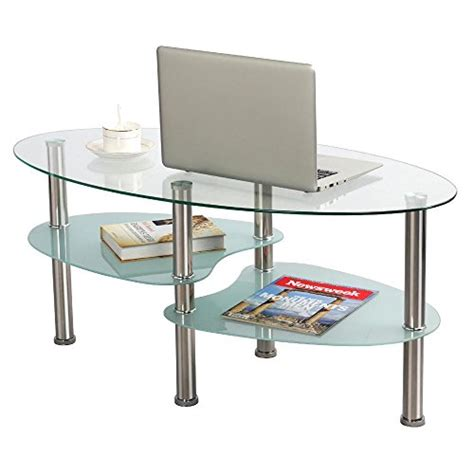 morello oval cocktail table coffee tables accent yaheetech 3 tier modern living room oval glass coffee