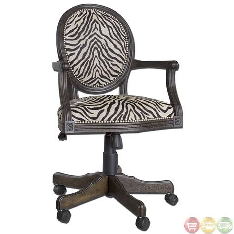 Desk Chair by Zebra Print Solid Mahogany Wood Frame Swivel Office Desk