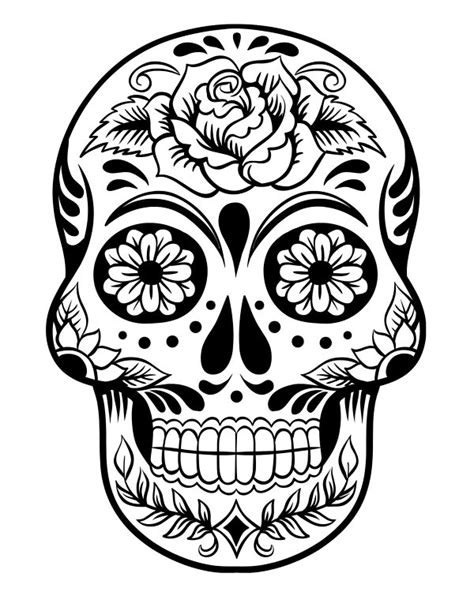 Printable Day Of The Dead Sugar Skull Coloring Page 3 Sugar Skull Coloring Pages Printable
