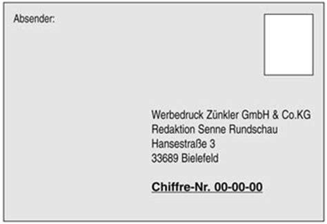Bewerbung Chiffre Nummer Angeben Senne Rundschau