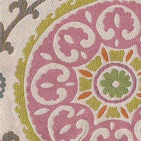 medallion upholstery fabric carousel jellybean pink floral geometric medallion