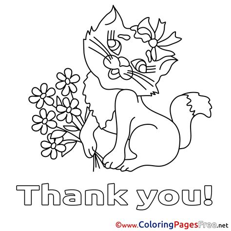 vector of a cartoon grateful dog holding a thank you sign coloring