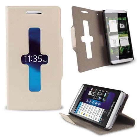 Cassing Blackberry Z10 Kesing Bb White Housing leather style sneak peak flip for blackberry z10 white mobilezap australia
