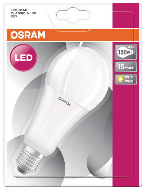 Lu Led Osram 20 Watt osr 899959118 osram led cl a 150 20 w e27 at