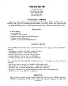 resume examples for preschool teacher assistant 1