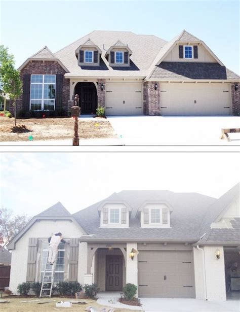 before and after lowes brick panel painted white brick backsplash faux brick shop house painted brick homes add charm curb appeal omg
