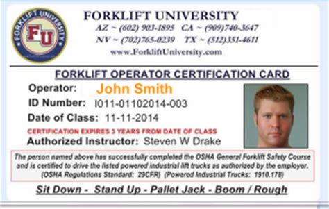Forklift Training Aerial Lift Training For Safe Operators Aerial Lift Certification Card Template