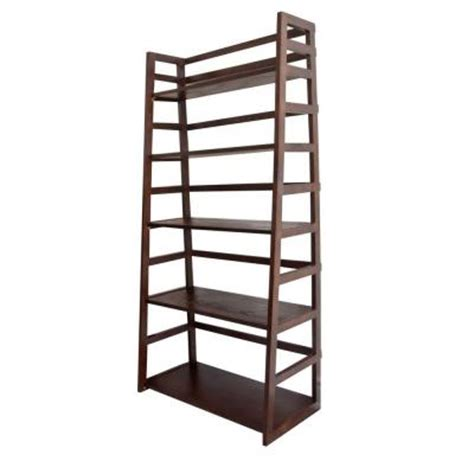 simpli home acadian 5 shelf ladder bookcase in tobacco