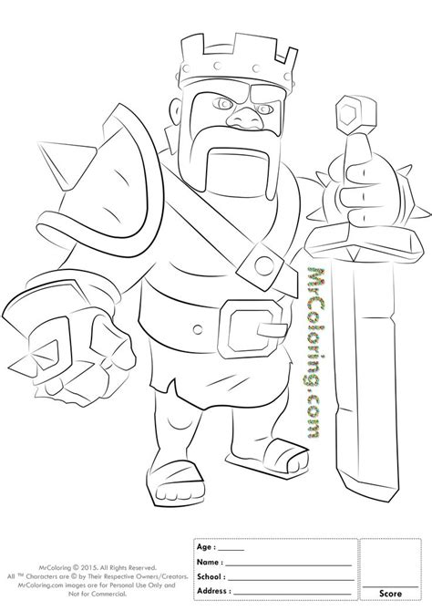 barbarian king coloring pages free printable clash of clans barbarian king coloring