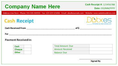 Money Receipt Template receipt template