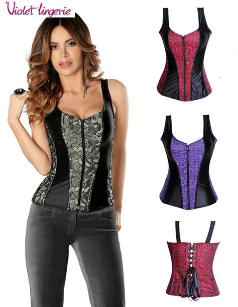 Bustier New 6 new corset back lace up front zipper bustier m2928 s m l xl wholesales in