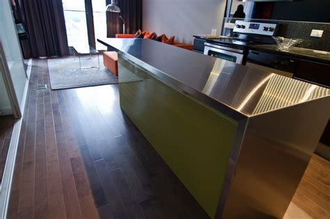 ikea island custom thermofoil doors stainless steel countertop modern kitchen toronto ts kitchen projects
