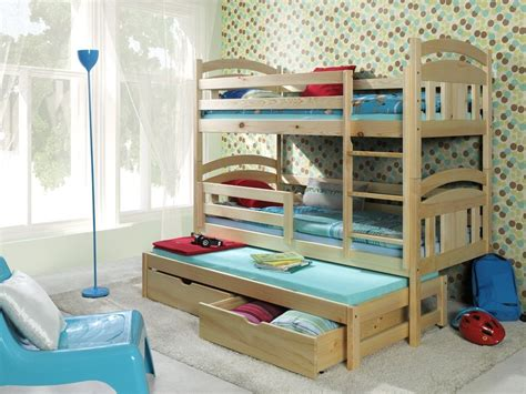3 Kid Bunk Bed Bunk Beds Wooden Children S Mattresses Storage White Pine Solid 3 Sleeper Ebay