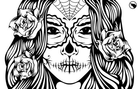 sugar skull girl illustration coloring page ideas skull