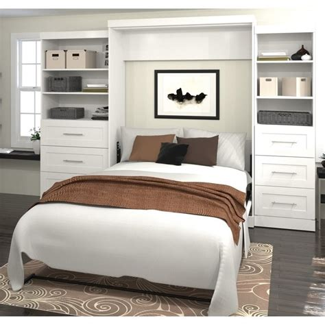 queen wall bed bestar pur queen wall bed with storage in white 26879 17