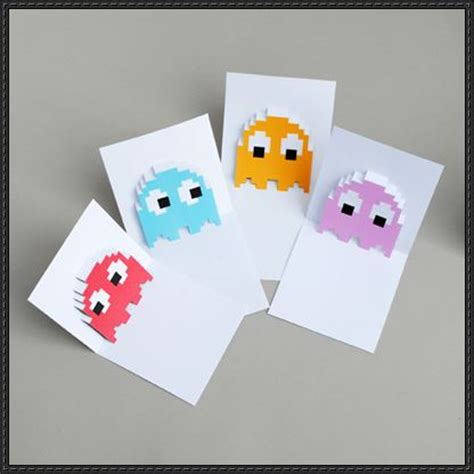 Paper Craft Cards - pac ghosts pop up card free papercraft templates