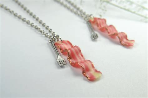 bff bacon necklace friendship necklace 2pcs food jewelry