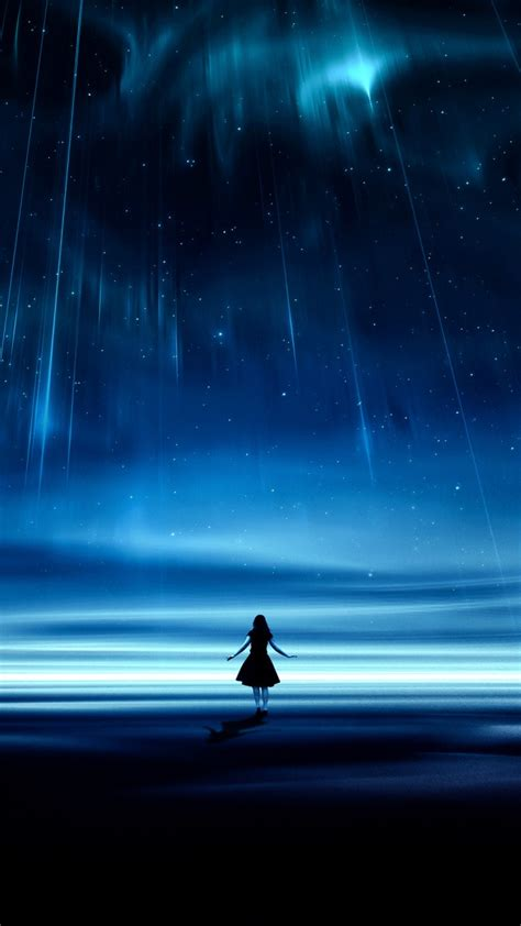 wallpaper night girl dream falling stars hd fantasy