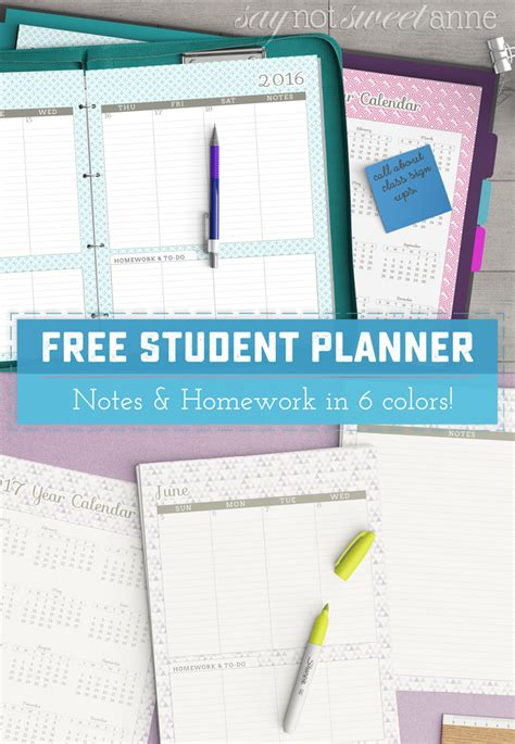 printable student planner free free printable student planner sweet anne designs