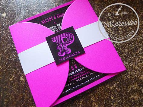 invitation design debut debut invitation hot pink and black half petal