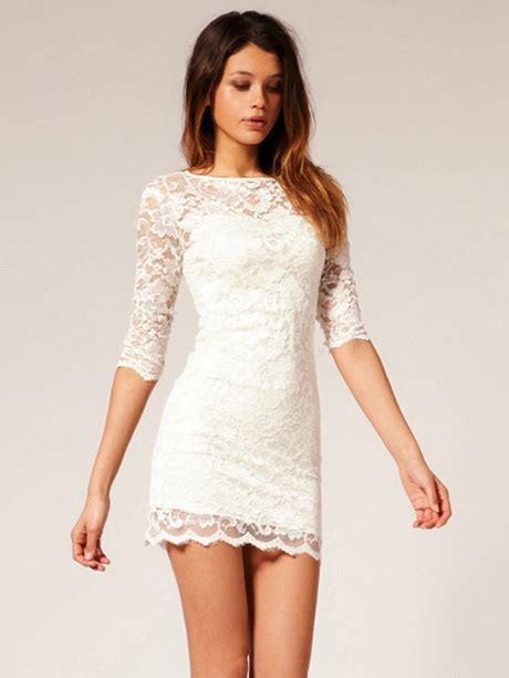 White Lace Sleeved Dress white sleeve lace dress
