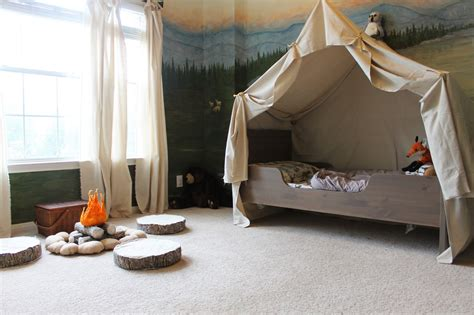 toddler bed with tent remodelaholic cing tent bed in a kid s woodland bedroom