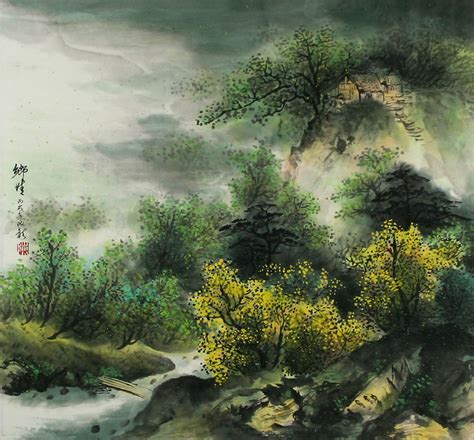 japanese landscape painting of hometown landscape painting landscapes