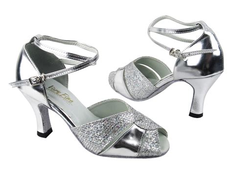 silver shoes without heel 6006 silver sparklenet silver leather without t strap 2701