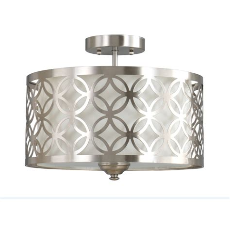 polished nickel flush mount ceiling light shop allen roth earling 15 in w brushed nickel fabric