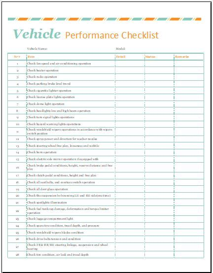 vehicle performance checklist template for excel word