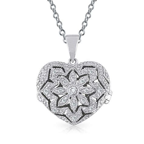 Sterling Silver Pendant Necklace sterling silver vintage pave locket pendant