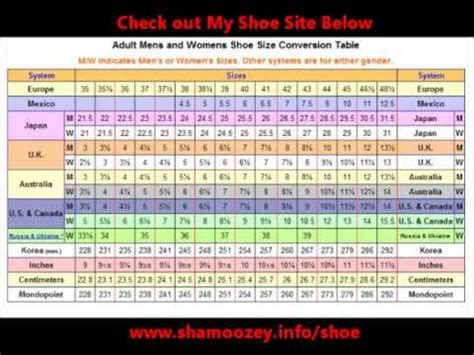 shoe size chart from mexico to usa shoe size conversion table youtube