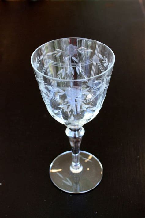 fine crystal pair of etched fluted wine glasses vintage elegant
