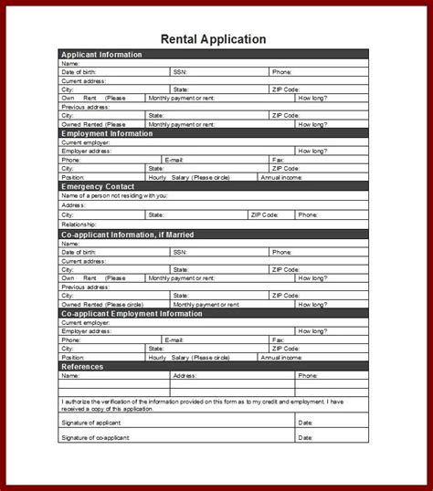 slre rental application sle rental application utah