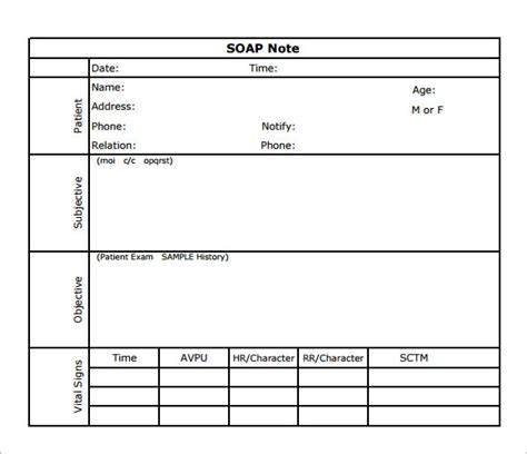 soap notes template soap note template 7 free documents in pdf