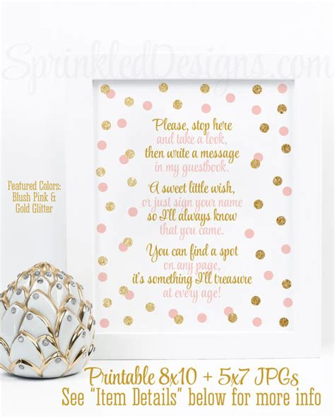Baby Shower Guest Book Wording by Baby Shower Guest Book Sign Blush Pink Gold Glitter