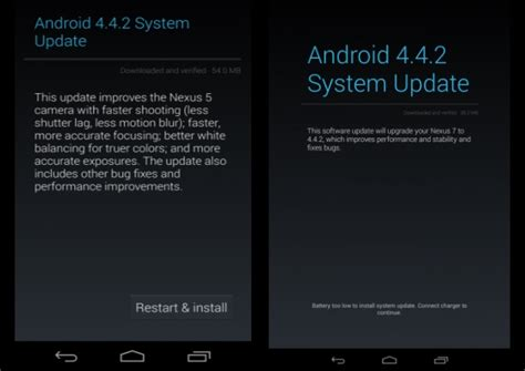 android 4 4 2 kitkat update starts rolling out to nexus 4 nexus 5 nexus 7 nexus 10