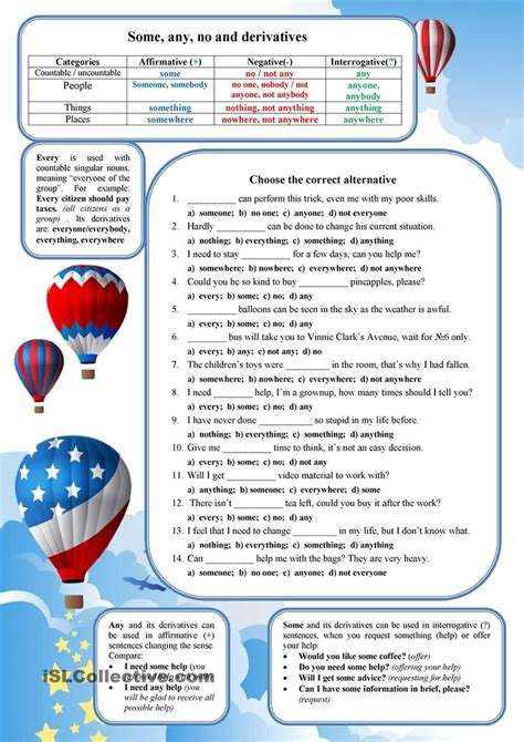 some any no every worksheets printables