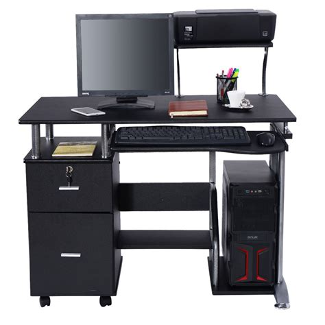Laptop Printer Desk Computer Desk Pc Laptop Table Workstation Home Office Furniture W Printer Shelf Ebay
