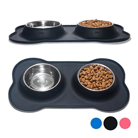 Pet Mangkok Wetnoz Stanles Small keks set of 2 stainless steel bowls with non skid