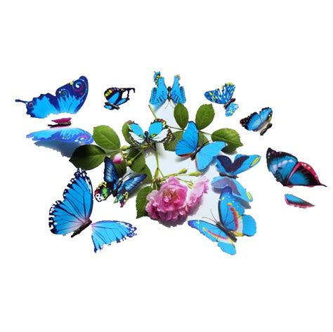 12pcs 3d stickers blue butterfly 12pcs 3d blue colorful butterfly wall sticker chrismas