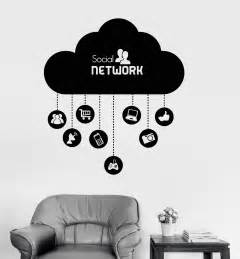 Sticker On Wall vinyl wall decal cloud social network computer technology