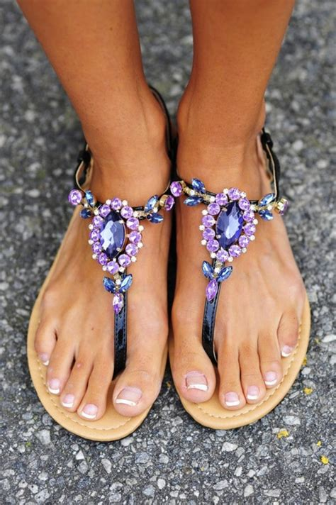 pretty flat sandals for summer shoes sparkle diamonds purple blue pretty