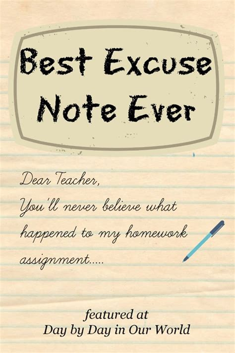 Excuse Letter For Late Of Assignment Writing Sle Best Excuse Note Day By Day In Our World