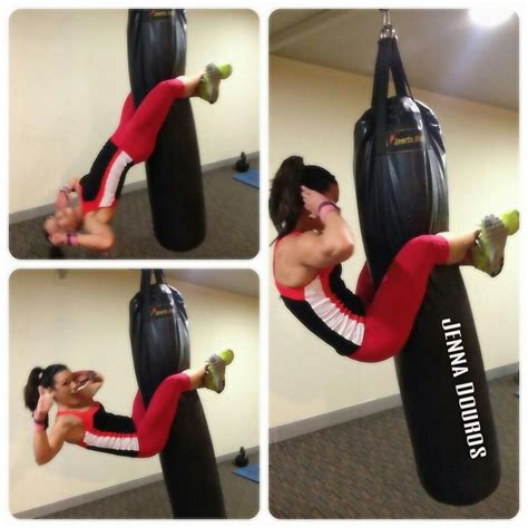 punching bag crunches abs workout home