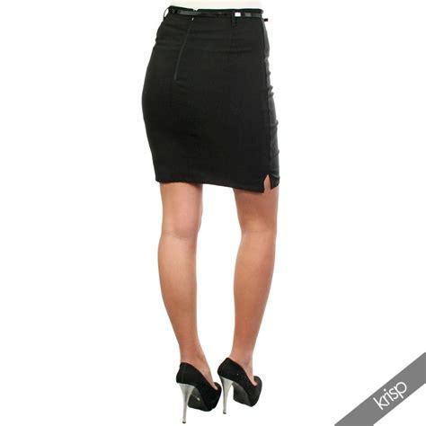 womens simple black bodycon pencil skirt