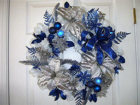 flocked blue christmas wreath by thevictorianbouquet on etsy