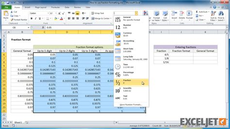 excel jet tutorial excel tutorial how to use fraction formatting in excel
