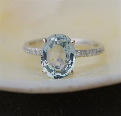 Blue Safir Sapphire 3 15ct lively mint sapphire ring 14k white gold